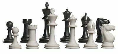 "Competition Plastic Chess Set - Pieces Only - 3.75"" Black & White"
