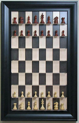 """Straight Up Chess Board - Black Maple Board with 3"""" Black Contemporary Frame"""