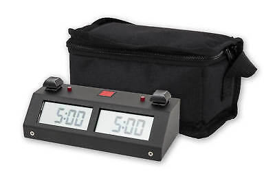 Chronos GX Digital Game Chess Clock - BUTTON - Black with Carrying Bag