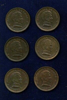 Chile 20 Centavos Coins: 1943(2), 1946, 1952(2), & 1953