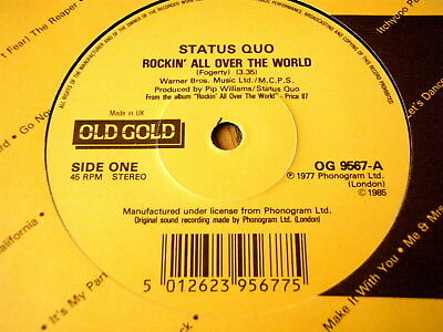 """Status Quo - Rockin' All Over The World / Paper Plane  7"""" Old Gold Vinyl"""