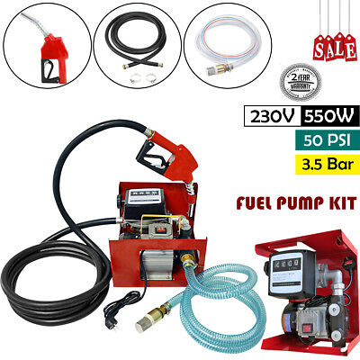 230V Wall Mounted Diesel Electric Transfer Fuel Pump Kit - With Automatic Nozzle