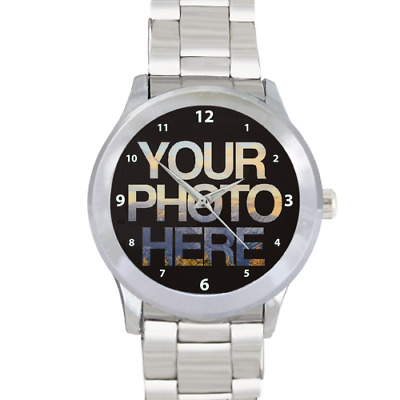 Personalised Men's Stainless Steel Photo Custom Watch Picture Design Logo Image
