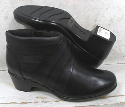 ac6d90464708aa NEW Clarks Womens Malia Hue Black Leather Ankle 04006 Boots Shoes size mm  6.5 M