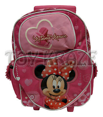 d7c1ae6bba2c Minnie Mouse Rolling Backpack! Pink Heart Girls Large Roller School 16