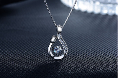 Rose Winding Zircon Pendant 925 Sterling Silver Necklace jewellery Women Gift UK