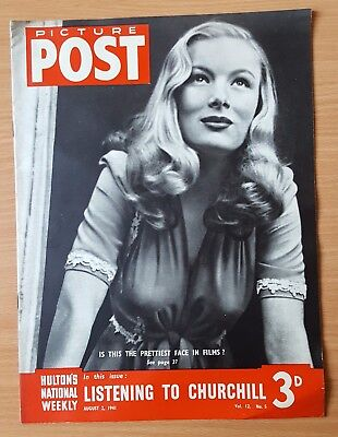 Vintage Picture Post August 2nd 1941 Veronica Lake, Prettiest Face in Films?