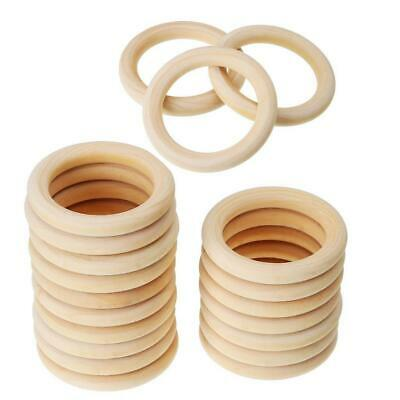 20x Natural Unfinished Wooden Teether Wood Baby Teething Ring Toys DIY Craft