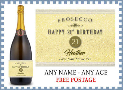 HAPPY BIRTHDAY Personalised Prosecco Label (any age) 18th 21st 40th 60th etc