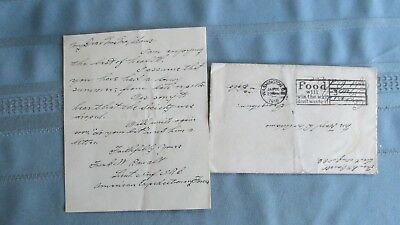 1918 World War I Soldiers Letter & Cover-American Expeditions France Infantry