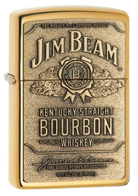 "Zippo ""Jim Beam Bourbon"" High Polish Brass Finish Emblem Lighter, 254BJB-929"