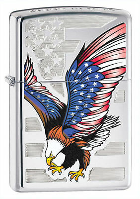 "Zippo ""American Eagle-Flag"" High Polish Chrome Finish Lighter, 28449"