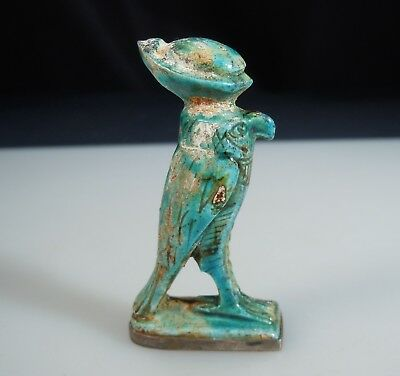 Ancient Egyptian Turquoise Faience Falcon Horus w/ Silver Base     51259