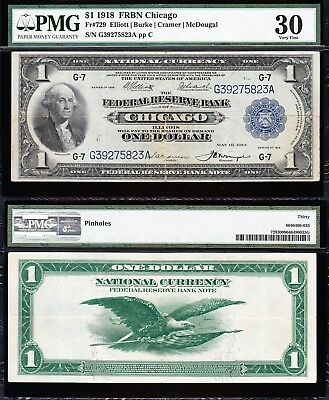 VERY NICE Bold & Crisp VF+ 1918 Chicago $1 GREEN EAGLE FRBN! PMG 30! G39275823A