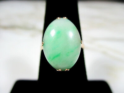 "Antique Victorian Chinese Type ""a"" Green Jade Jadeite Ring 14K Y Gold Size 5 1/2"