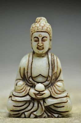 Exquisite Workmanship Chinese Old Jade Hand Carved Buddha Statue
