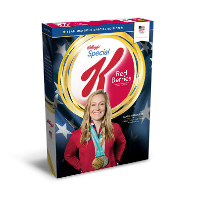 2018 KELLOGGS PyeongChang Olympics Jamie Anderson Gold Cereal box Special K