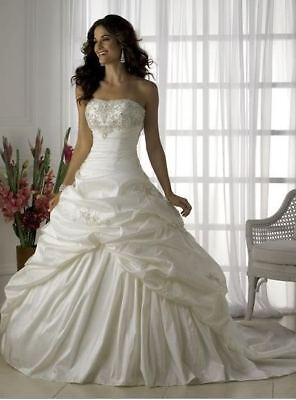 White Ivory Embroiders Wedding Dress Bridal Gown Stock Size 6 8 10
