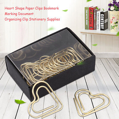 Lovely Heart Shape Paper Clips, Smooth,  Silver, Stainless steel 12/Box Gold