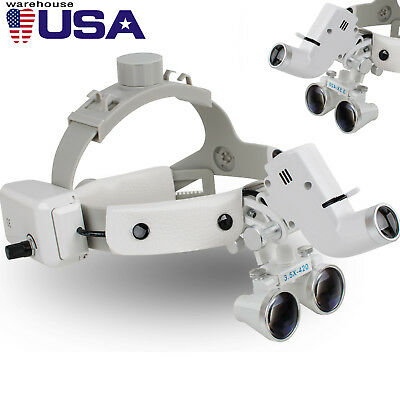 Dental Binocular Loupes Surgical Glass Magnifier+LED Headlight 3.5X 280-380mm CE