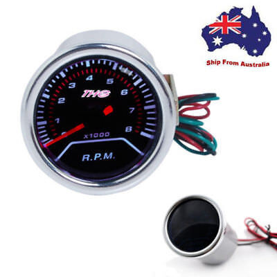 Universal Car 2'' 52mm Digital White LED Tacho Tachometer Gauge 8000 RPM 12V AU