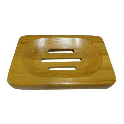 Bamboo Soap Holder Dish Bathroom Shower Plate Stand Storage Box