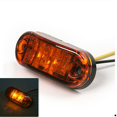 1 pair 2 LED Car Truck Piranha Trailer Side Marker Blinker Lights Lamp Amber 12V