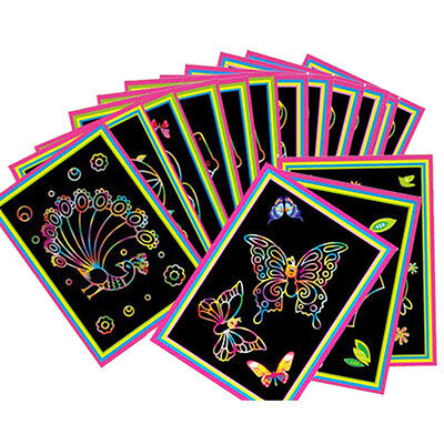 10pcs Magic Colored Scratch Art Painting Paper Educational Toy Drawing Sticks AU