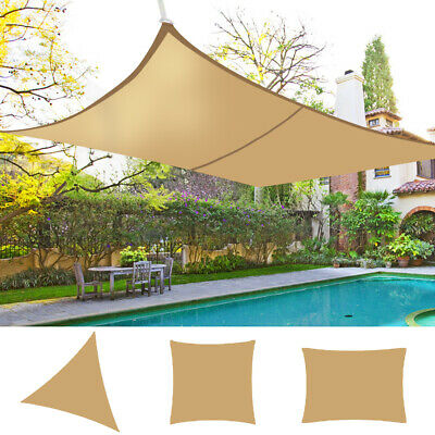 Sun Shade Sail Garden Patio Sunscreen Awning Canopy 98% UV Block Sand Outdoor