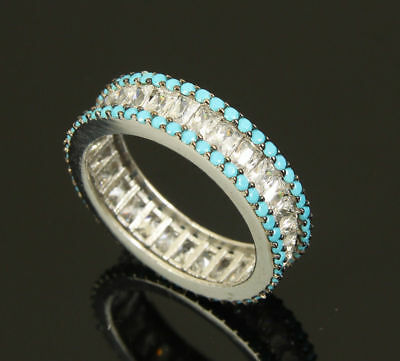 Turkish 925 Sterling Silver Jewelry Handmade Turquoise Stones Ladie's Ring