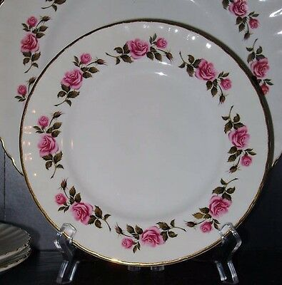 Ridgway Romance White Mist Vintage Bread Plates 2 Pink Roses Replacement China