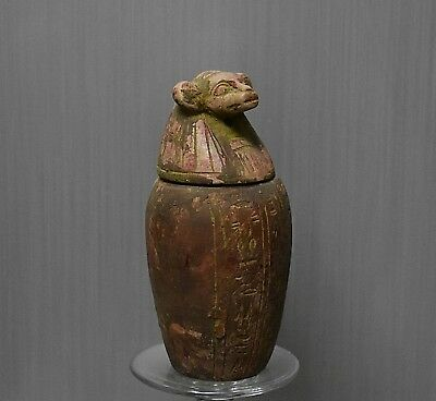 ANCIENT ANTIQUE Egyptian stone son of Horus Canopic Jar   HAPI (1500–300