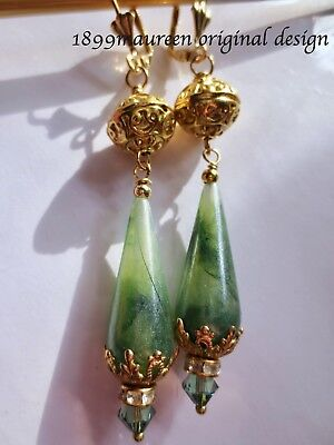 Art Deco Art Nouveau earrings vintage style statement earrings green gold drop