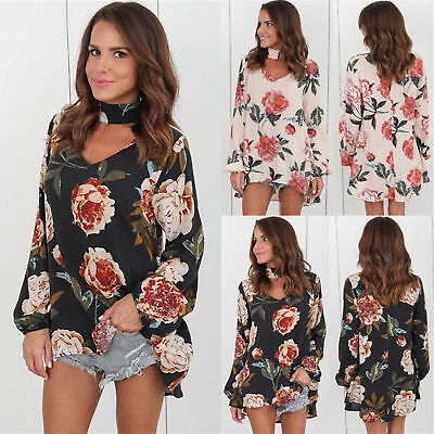 New Womens Choker V Neck Floral T Shirt Ladies Loose Tops Blouse 6