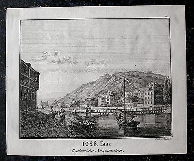 BAD EMS, Lahn. Originale Lithographie 1835
