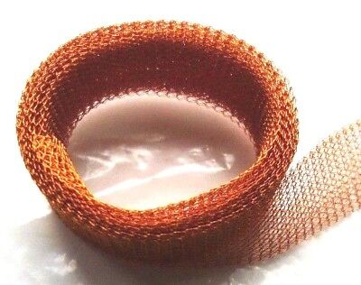 1x Orange//Golden Plated Copper 15mmx1m Knitted Mesh Craft Wire Flat Tube W7006