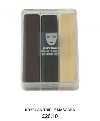 Kryolan Triple Mascara - Black/brown/ivory ** Final Clearance Reduction **