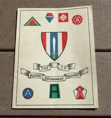 US Army Military 2nd Military Government Regiment Official Unit History Book