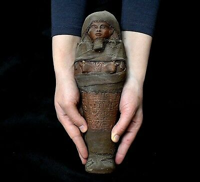 ANCIENT ANTIQUE Egyptian brown basalt stone LARGE USHABTI  30 cm(1500–300 BC )