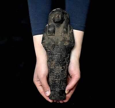 ANCIENT ANTIQUE Egyptian black basalt stone LARGE USHABTI  29 cm(1500–300 BC )