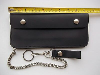 """Vintage Biker Trucker Leather Chain Wallet Pouch 9.5"""" USA Made Scovill Black"""
