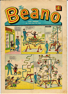BEANO Sept.7th 1968 # 1364 the comic issue w/ paper puppet 50th Birthday puppit