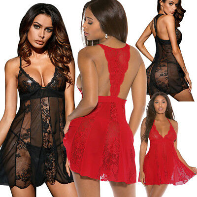 Babydoll pizzo a rete sexy LINGERIE intimo notte donna perizoma chemise DS31090