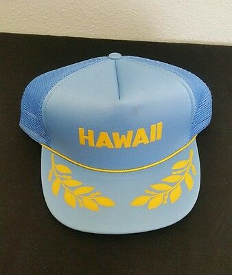 fab0e31f553 Vintage 80s HAWAII Headwear Navy mesh trucker snapback hat Honolulu Surf  Beach