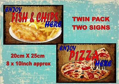 Vintage Style Fish & Chips Signs Pizza Takeaway Signs Old  Style Signs  2 PACK