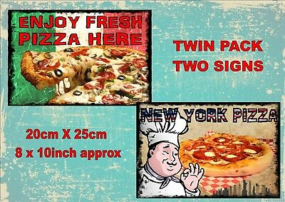 Vintage Style Italian Pizza Signs Pizza Takeaway Signs Old Style Signs  2 PACK
