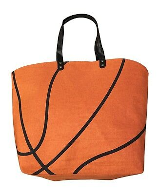 26fdfe76f8a9 BASKETBALL CANVAS TOTE Sport Bag Lined, Add Custom Personalized Numbers