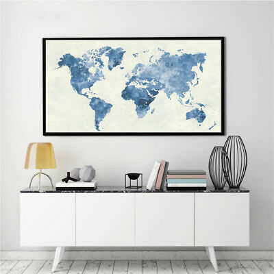 BANNER WORLD MAP Abstract Watercolor Silk Canvas Poster Painting No ...