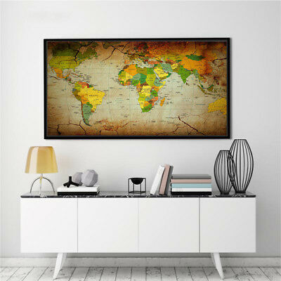 Banner World Map Geography Vintage Art Silk Canvas Poster Painting No Frame BM10