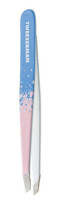 Tweezerman Stardust SLANT TWEEZER Slanted Tip PINK & BLUE Eyebrow Brow Tweezers